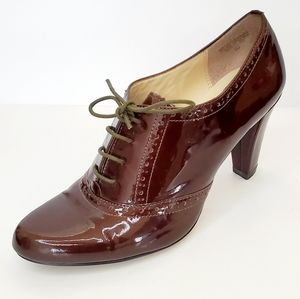 AK Anne Klein Brown Patent Leather Booties